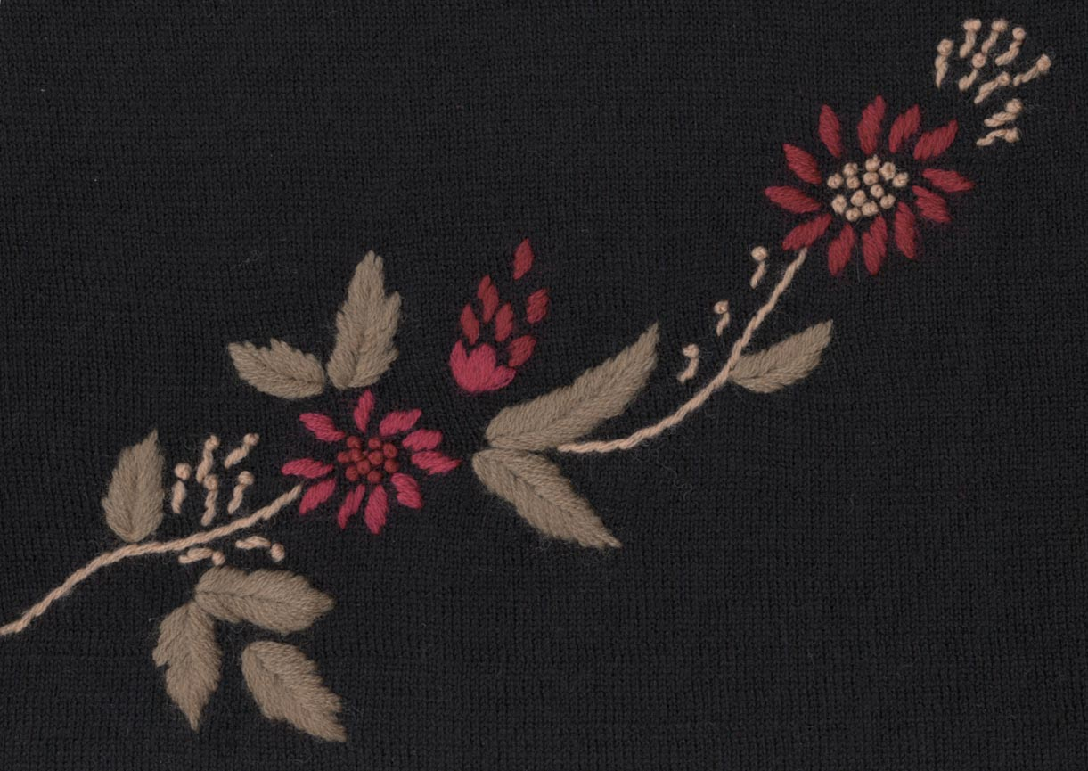 BLACK EMBROIDERED SWEATER DETAIL