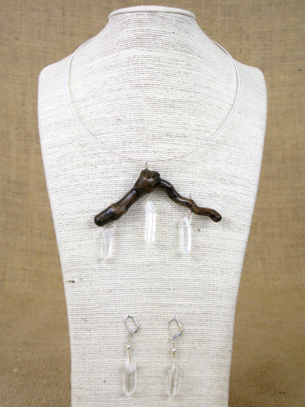 BURLED ROOT WITH CLEAR QUARTZ AND STERLING COLLAR