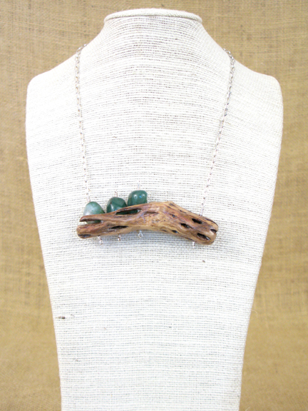 CHOLLA CACTUS WITH GREEN JADE WITH STERLING COLLAR