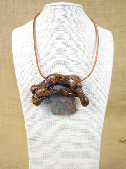 BURLED ROOT AND NEVADA TURQUOISE WITH RUBBER COLLAR