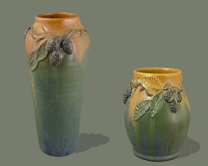 HEIRLOOM BLACKBERRY VASES TOGETHER
