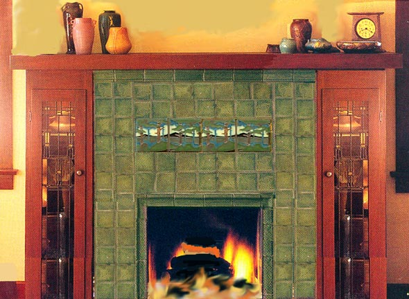 MOTAWI TILE LANDSCAPE TILES IN FIREPLACE