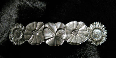 PEWTER MAPLE BARRETTE