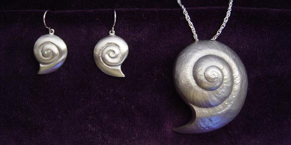 CRESCENT BEACH SNAIL PEWTER JEWELRY