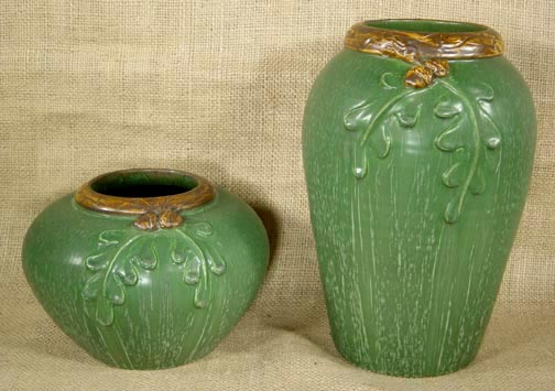 EPHRAIM POTTERY TWO OAK LEAVES AND ACORN POTTERY VASES