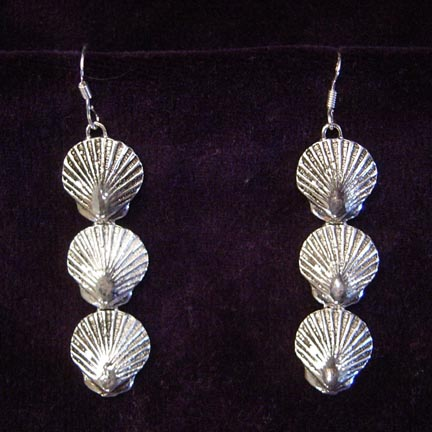 3 SEA SCALLOP STERLING SILVER EARRINGS