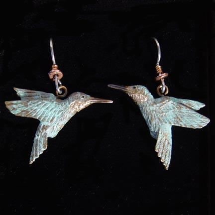 HUMMINGBIRD EARRINGS BRONZE JEWELRY