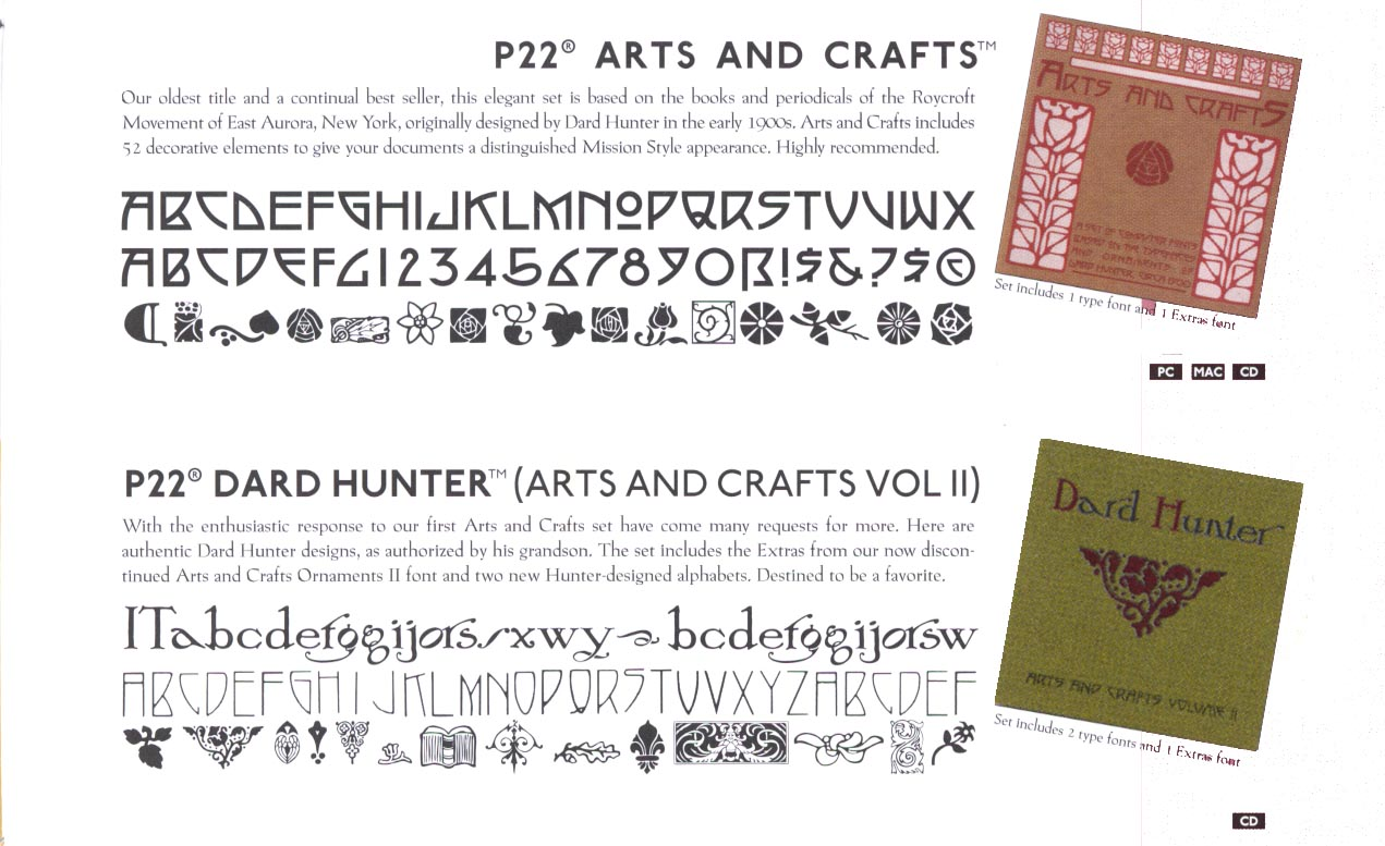 ARTS AND CRAFTS FONTS