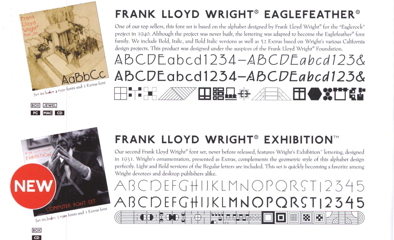 FRANK LLOYD WRIGHT FONTS